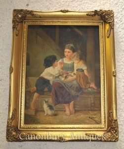 Victorian Oil Painting Potrait Mother Child Kittens Signed