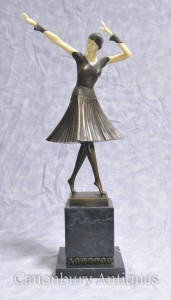 Art Deco Bronze Chiparus Figurine Female Dancer Flapper