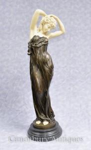 Art Deco Bronze Seductive Women Figurine Statue By Gory