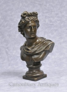 Bronze Bust Greek God Apollo Classical Art Olympian Deities