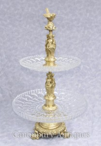 Classic French Empire Ormolu Cake Stand Maiden Comport Dish