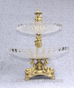 French Ormolu Glass Cake Stand Dish Sea Serpents Cherubs Comport
