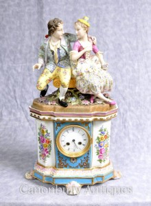 German Porcelain Dresden Figurine Mantle Clock