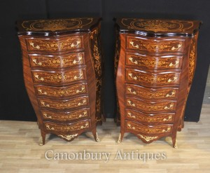 Pair French Empire Bombe Chests Drawers Commodes Tall Boys