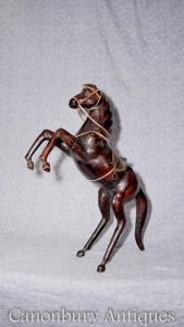 French Hand Carved Wood Statue Pony Carving