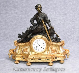 Antique French Empire Ormolu Mantle Clock 1880 Bronze Statue