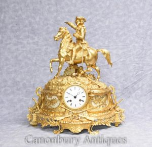 French Empire Ormolu Mantle Antique Clock Napoleon on Horse 1890