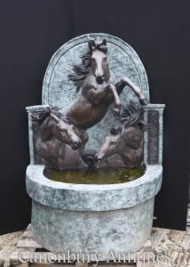 Giant French Bronze Horse Wall Fountain Water Font Architectural Garden