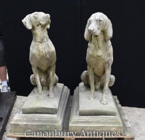 Pair Large English Stone Guard Dogs Hounds Garden Gatekeepers