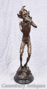 Bronze Pixie Statue Figurine Conch Fairey Pixies