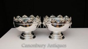 Pair George II Silver Plate Punch Bowls Wine Champagne Cooler