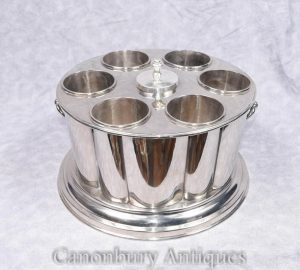 Victorian Silver Plate Wine Champagne Cooler Ice Bucket Box