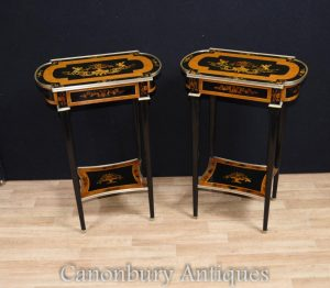 Pair Empire Lacquer Side Tables Cocktail Floral