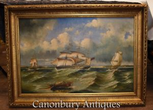 Victoria Seascape Maritime Oil Painting Ship Galleon Gilt Frame