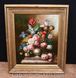 Victorian Floral Spray Still Life Oil Painting Gilt Frame