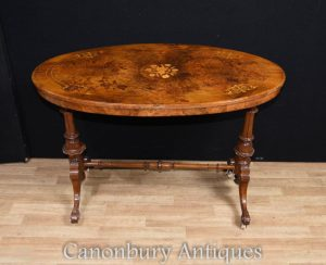 Victorian Walnut Coffee Table Marquetry Inlay