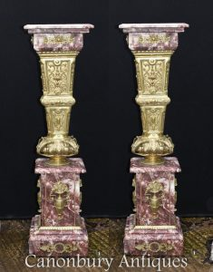 Pair French Empire Marble Gilt Pedestal Stand Columns