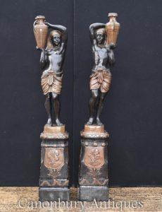 Pair Large Bronze Blackamoor Statues Garden Architectural Figurines