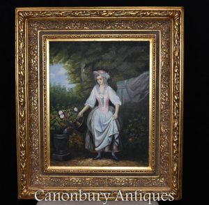Victorian Oil Painting Gardening Lady Portrait Gilt Frame