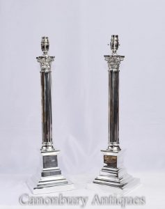 Pair Silver Plate Corinthian Column Lamp Bases Table Lights