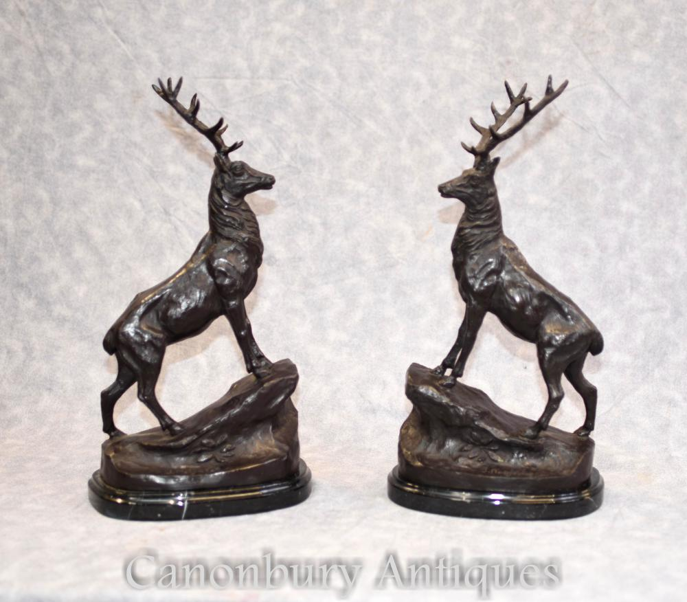 Pair French Bronze Stag Statues Signed Moigniez