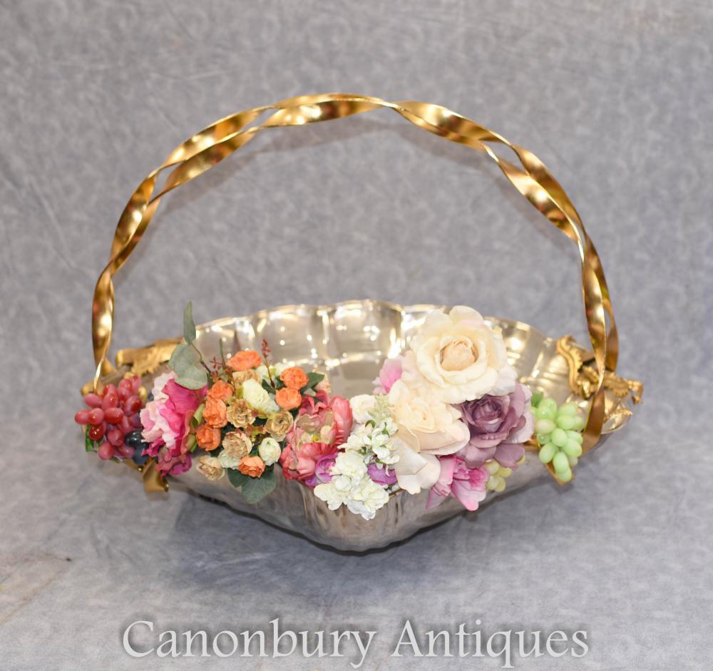Silver Plate Scallop Shell Basket Art Nouveau Circa 1910