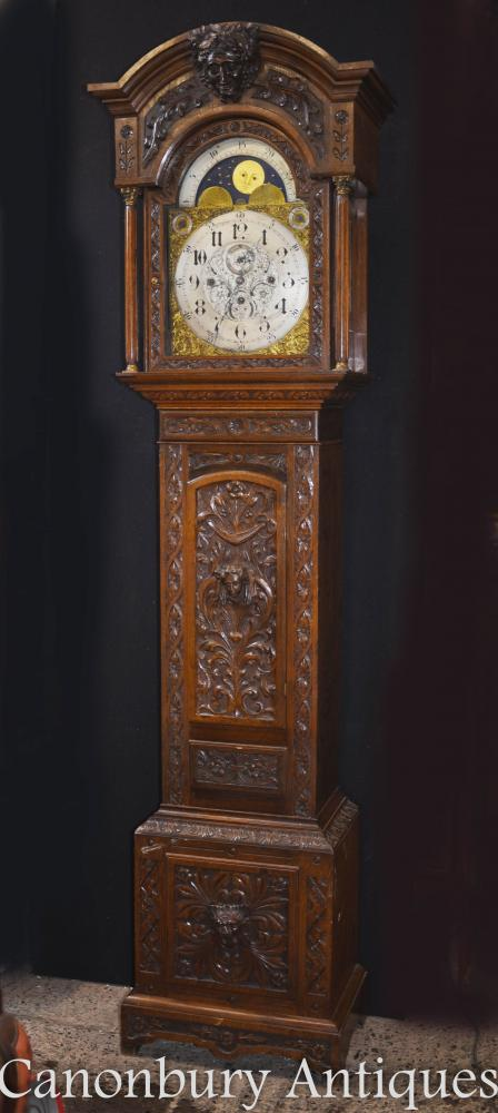 Victorian Oak Grandfather Clock Long Case 1880