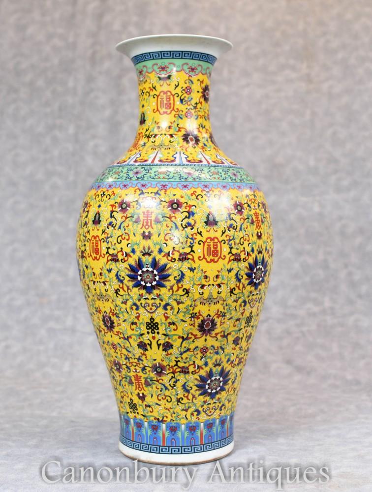 Chinese Ming Porcelain Vase - Single Yellow Arabesque China Urn