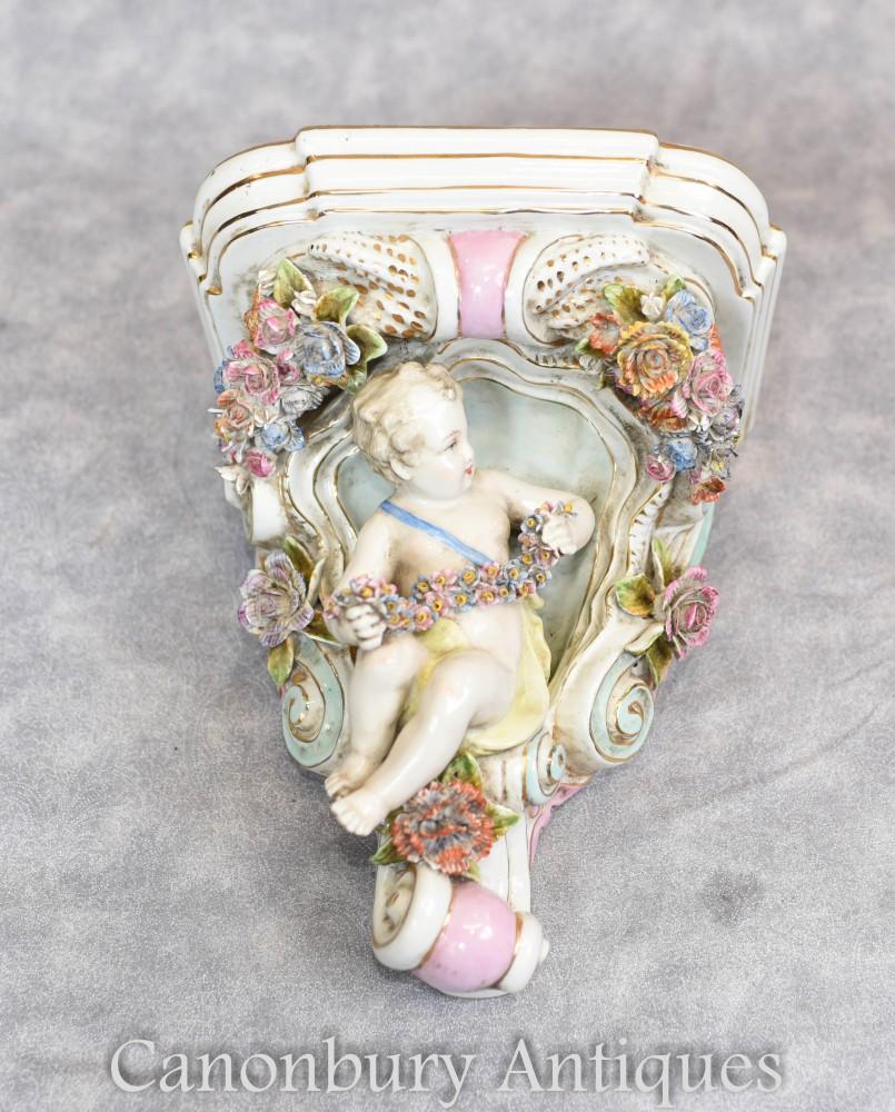Dresden Porcelain Shelf Support - Cherub Floral Encrusted