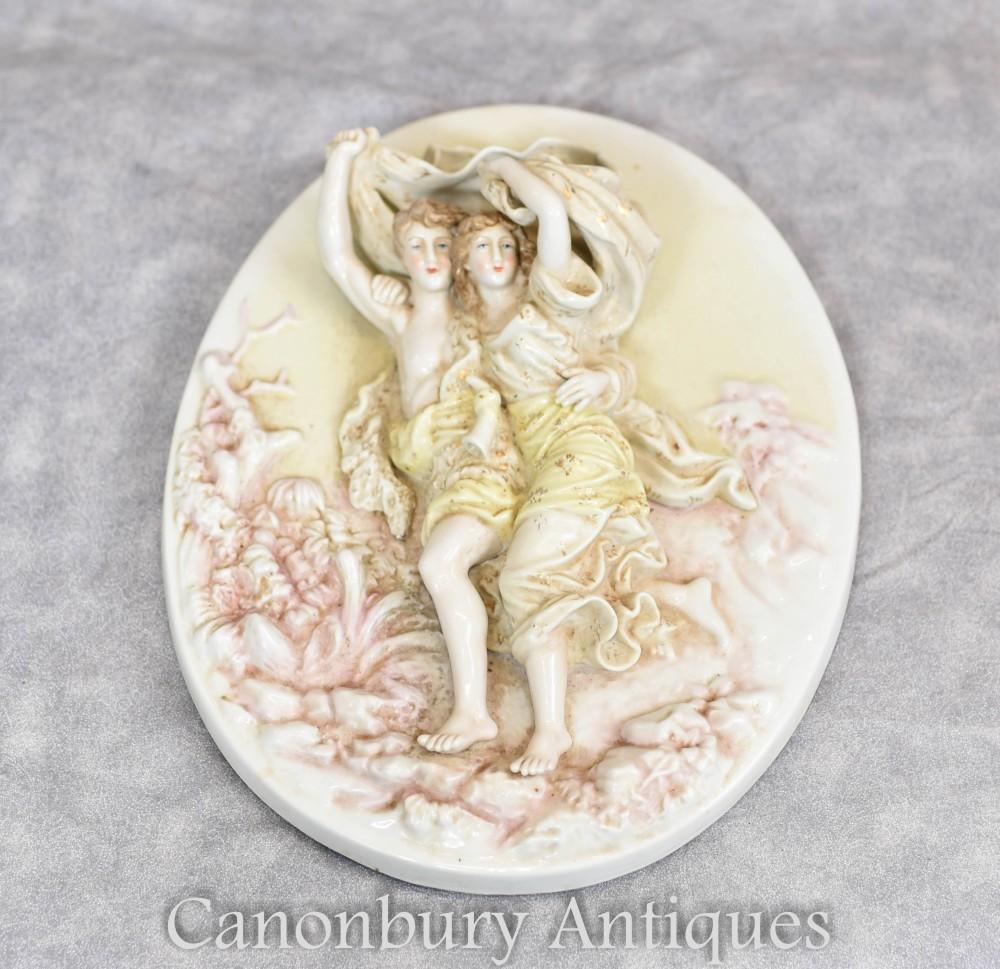 Meissen Porcelain Plate - Encursted Floral Maiden Plaque
