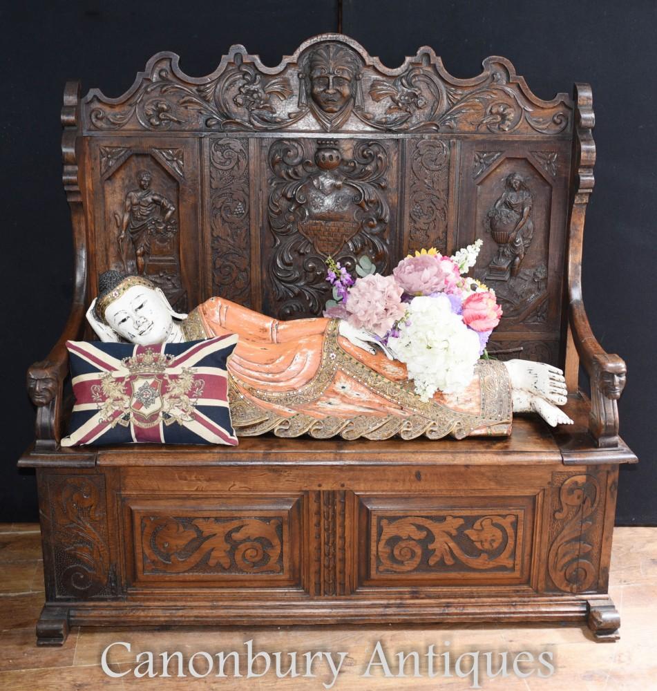 Antique Carved Oak Settle - 18th Century Monks Bench Seat