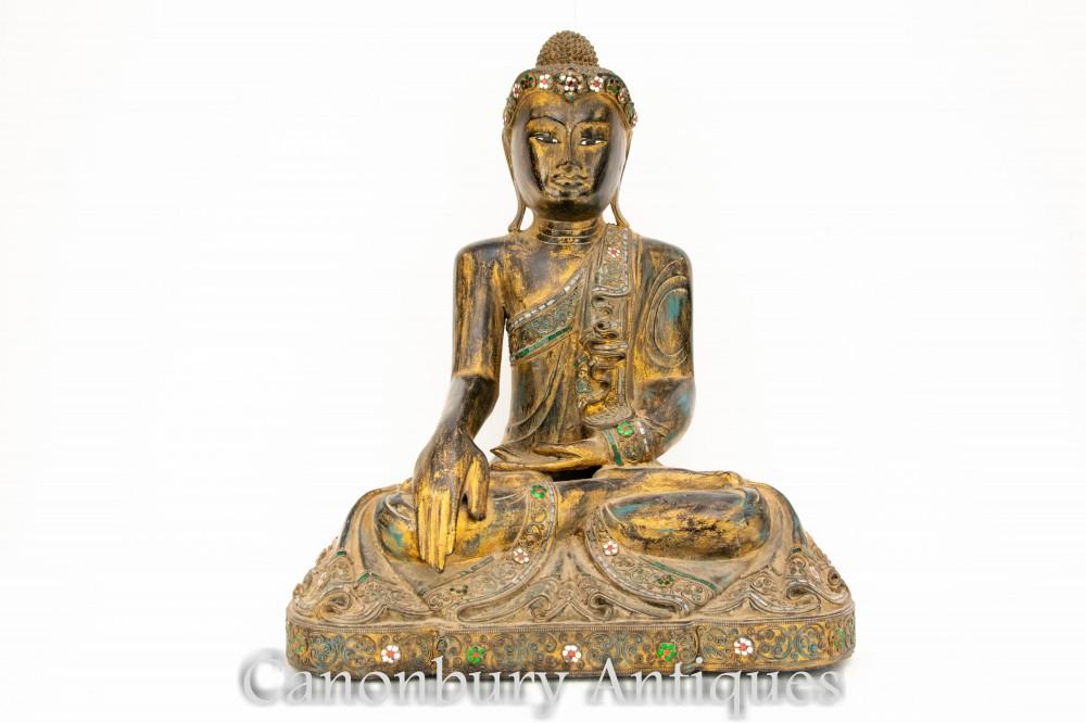 Carved Buddha Statue - Nepalese Meditation Buddhist Sculpture