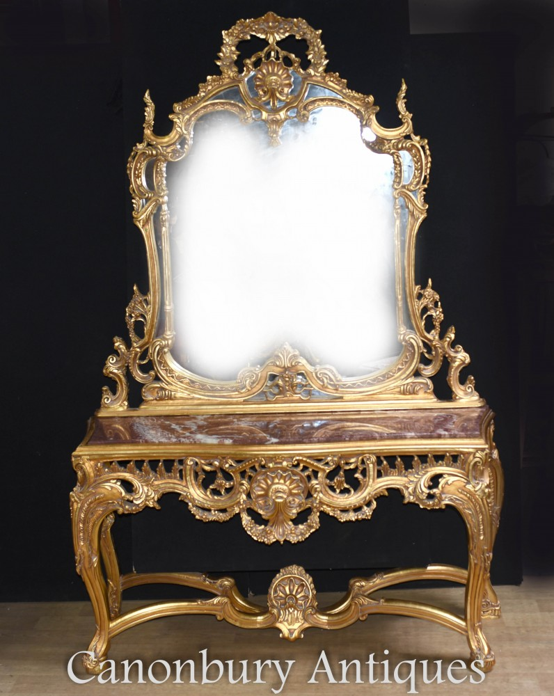 French Gilt Console Table and Mirror Set Rococo Louis XVI