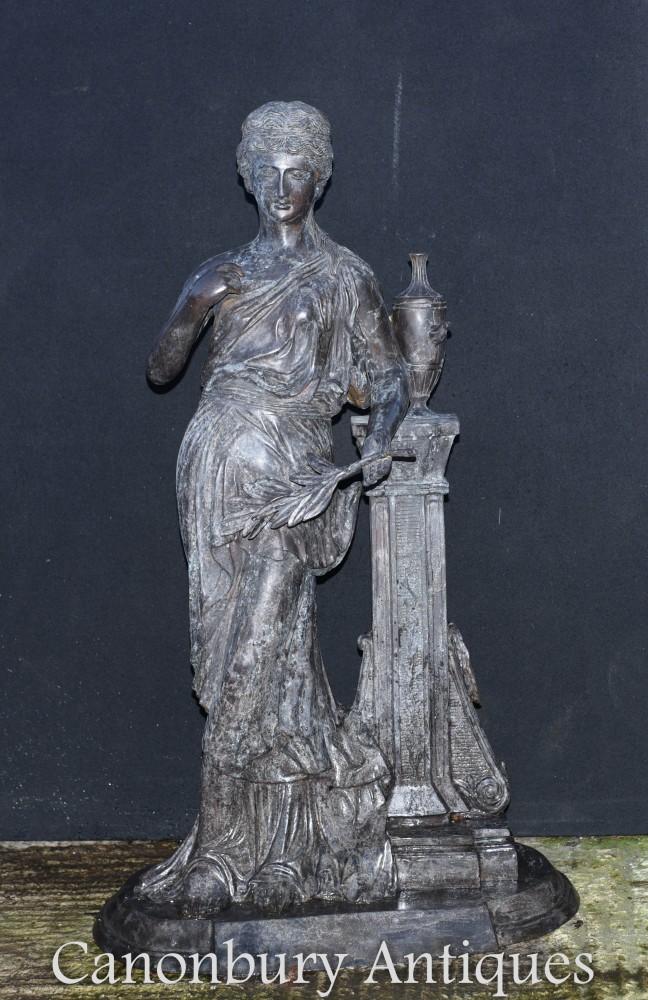 Large Roman Maiden Statue in Bronze - Classical Figurine