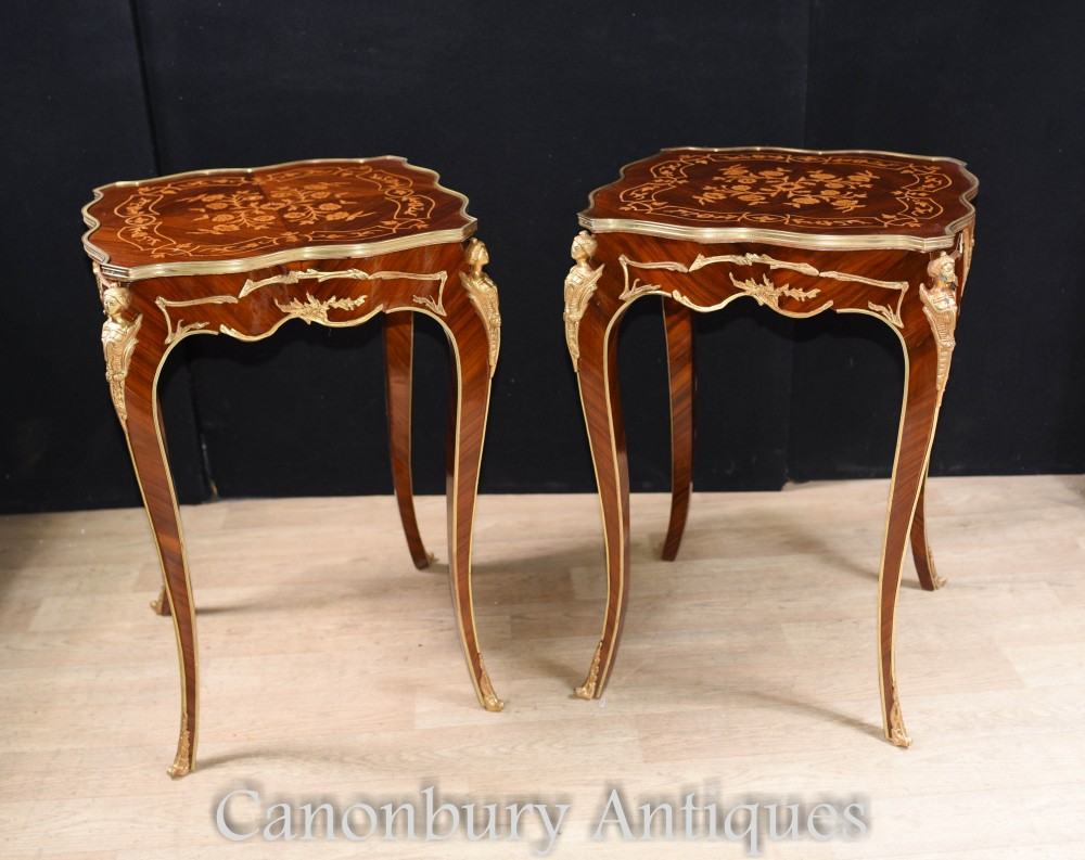 Louis XVI Side Tables - Pair French End Table