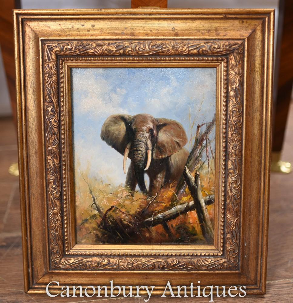 Oil Painting African Elephant Gilt Frame