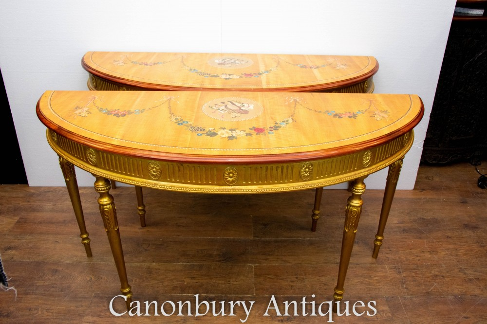 Pair Adams Console Tables with Painted Tops Demi Lune Form