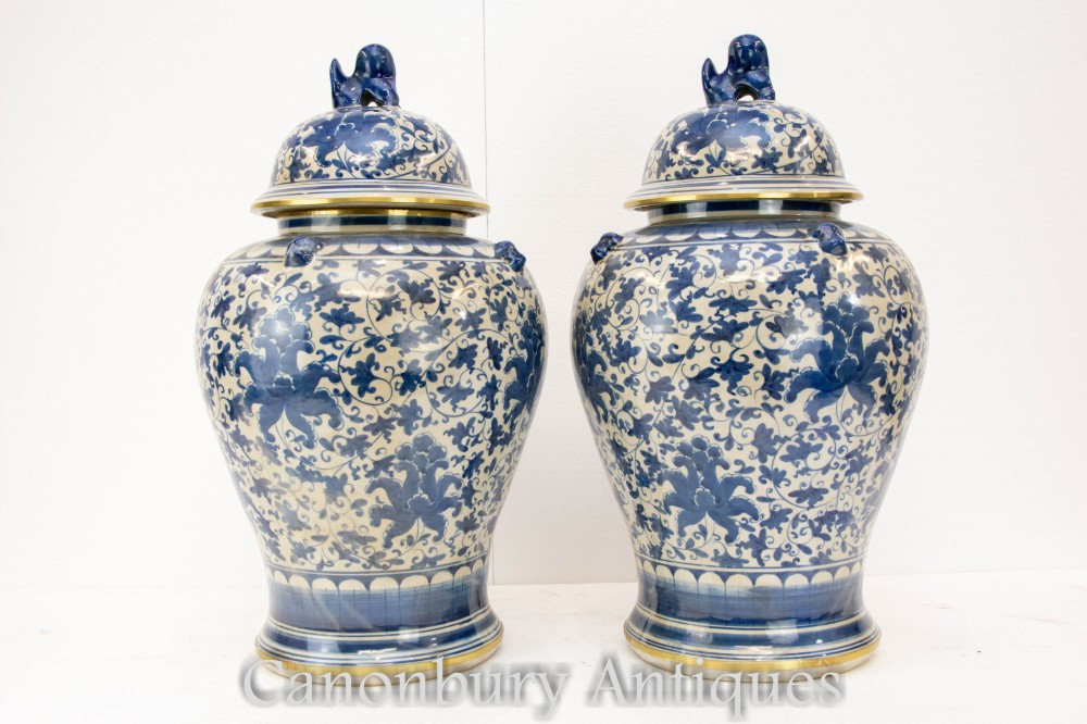 Pair Blue and White Porcelain Vases - Chinese Ming Urns