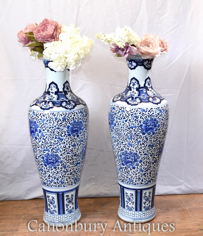 Pair Blue and White Porcelain Vases - Chinese Nanking Temple Urns