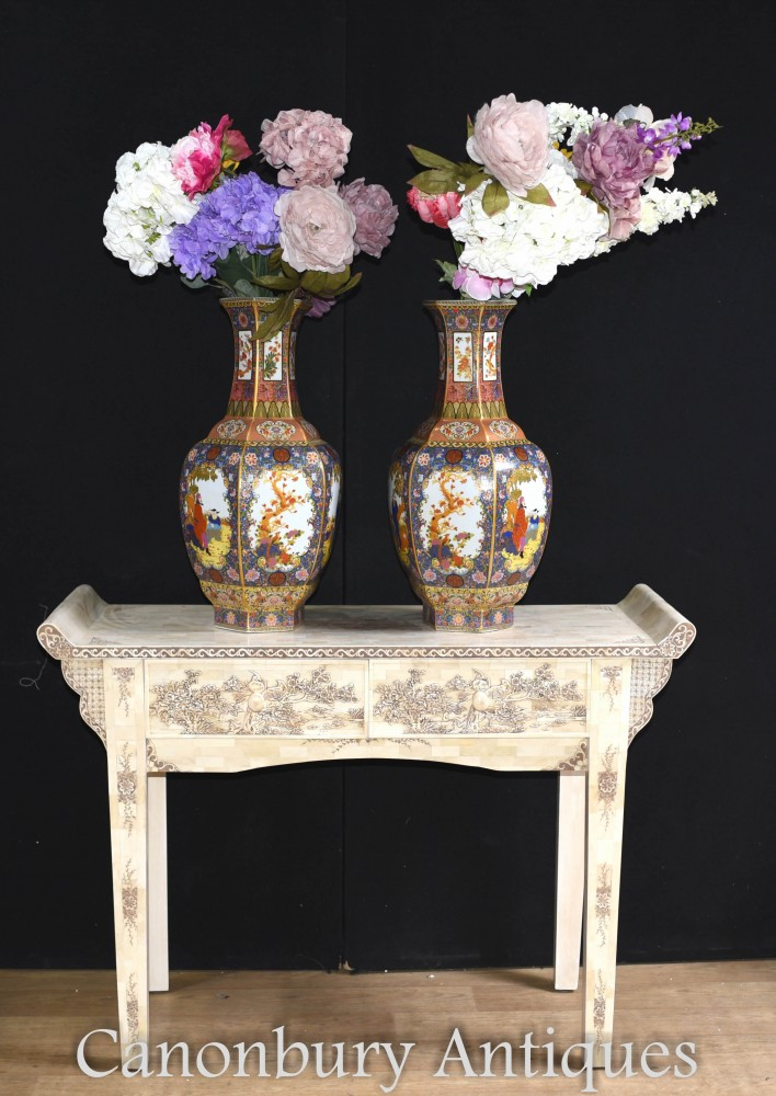 Pair Chinese Imari Porcelain Vases - Floral China Urns