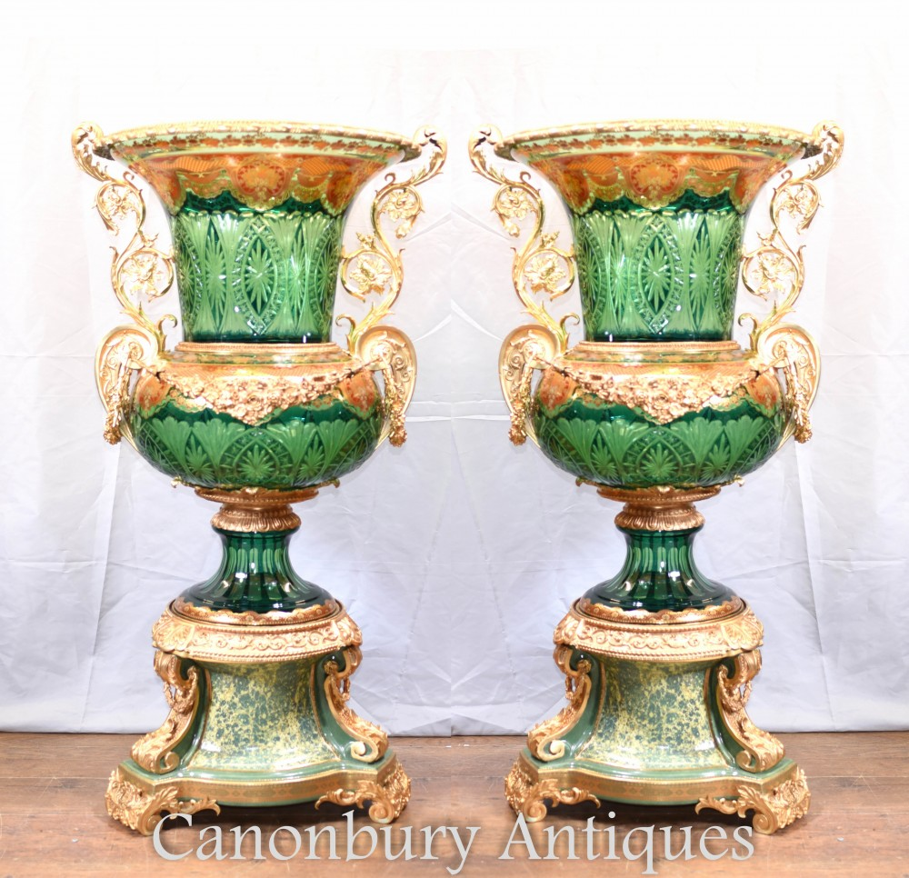 Pair Empire Glass Campana Urns - Big French Classical Ormolu Glassware