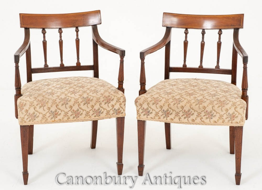 Pair George III Arm Chairs Circa 1800