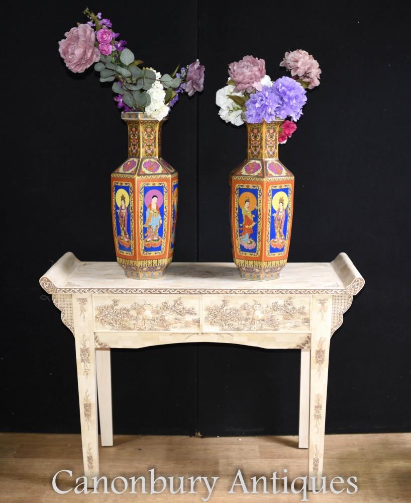 Pair Imari Porcelain Vases - Painted Chinese Urns