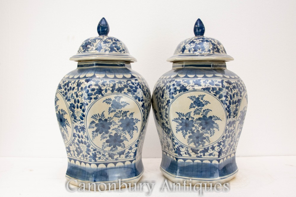 Pair Qing Porcelain Chinese Vases - Blue and White Painted Urns