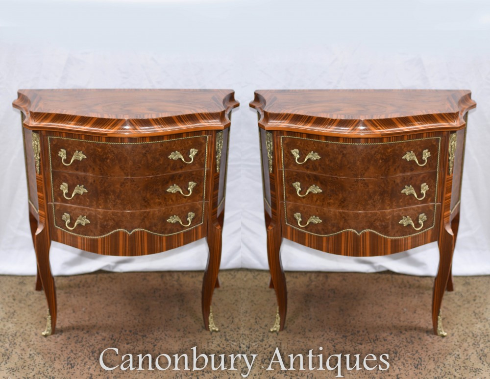 Pair Regency Bedside Chests - Walnut Nightstands