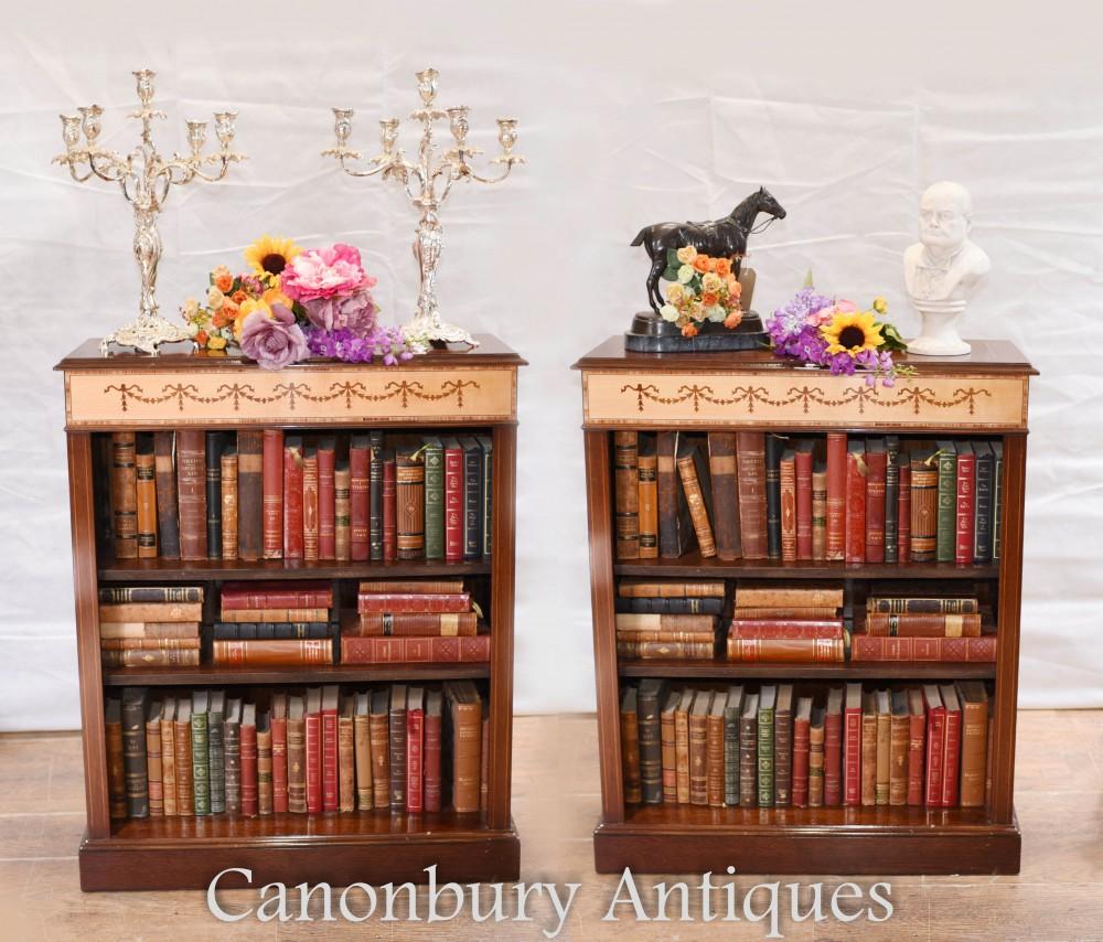 Pair Regency Bookcases - Mahogany Open Front Sheraton Inlay