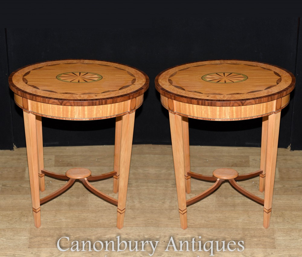 Pair Regency Side Tables - Satinwood Sheraton Inlay