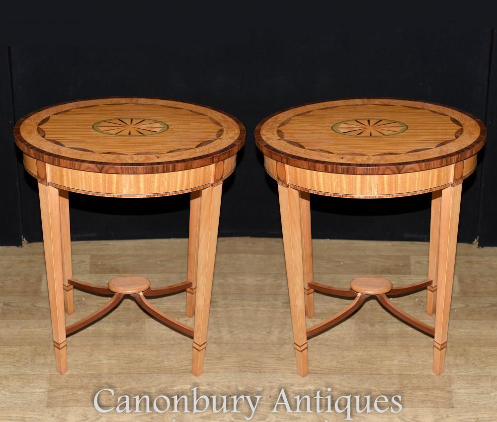 Pair Regency Side Tables - Satinwood Sheraton Inlay