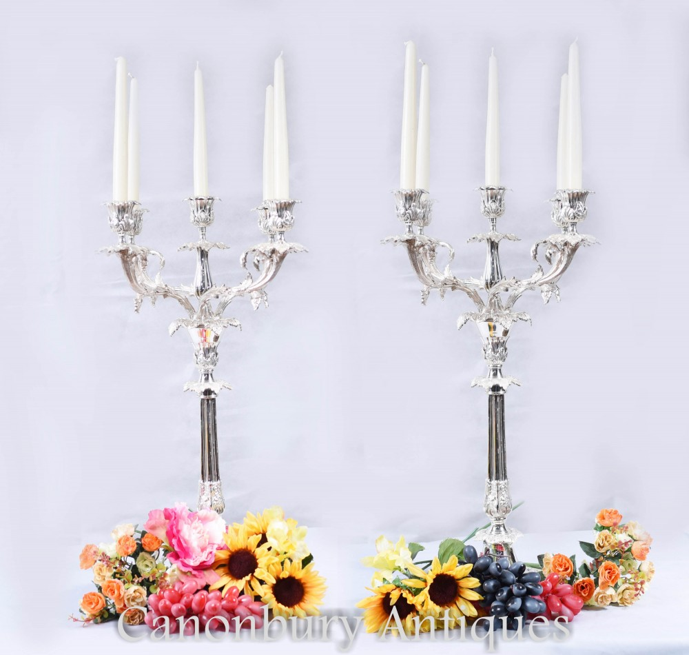 Pair Sheffield Silver Plate Candelabras Rococo Candles