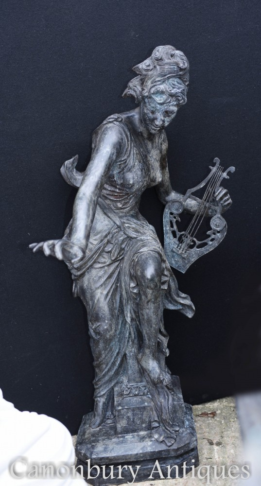 Roman Maiden Bronze Statue - Big Classical Lyre Figurine